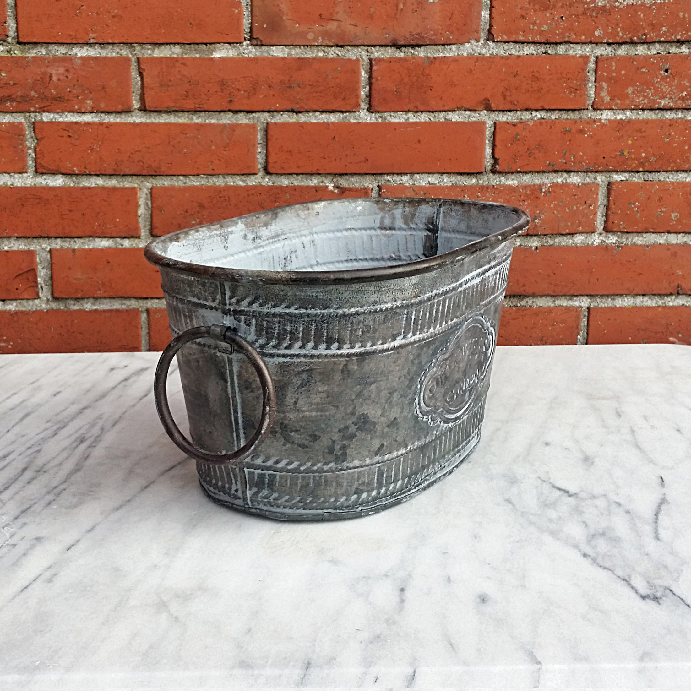 Zinc tub oval 3 sizes pot planter bucket flower pot for Oval tub sizes