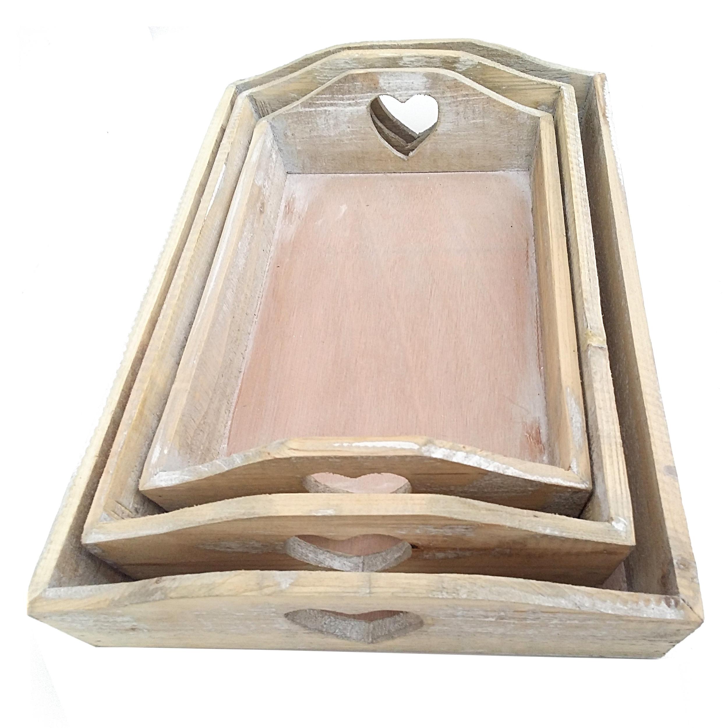 3er tablett set holz gek lkt herz gross rechteckig. Black Bedroom Furniture Sets. Home Design Ideas