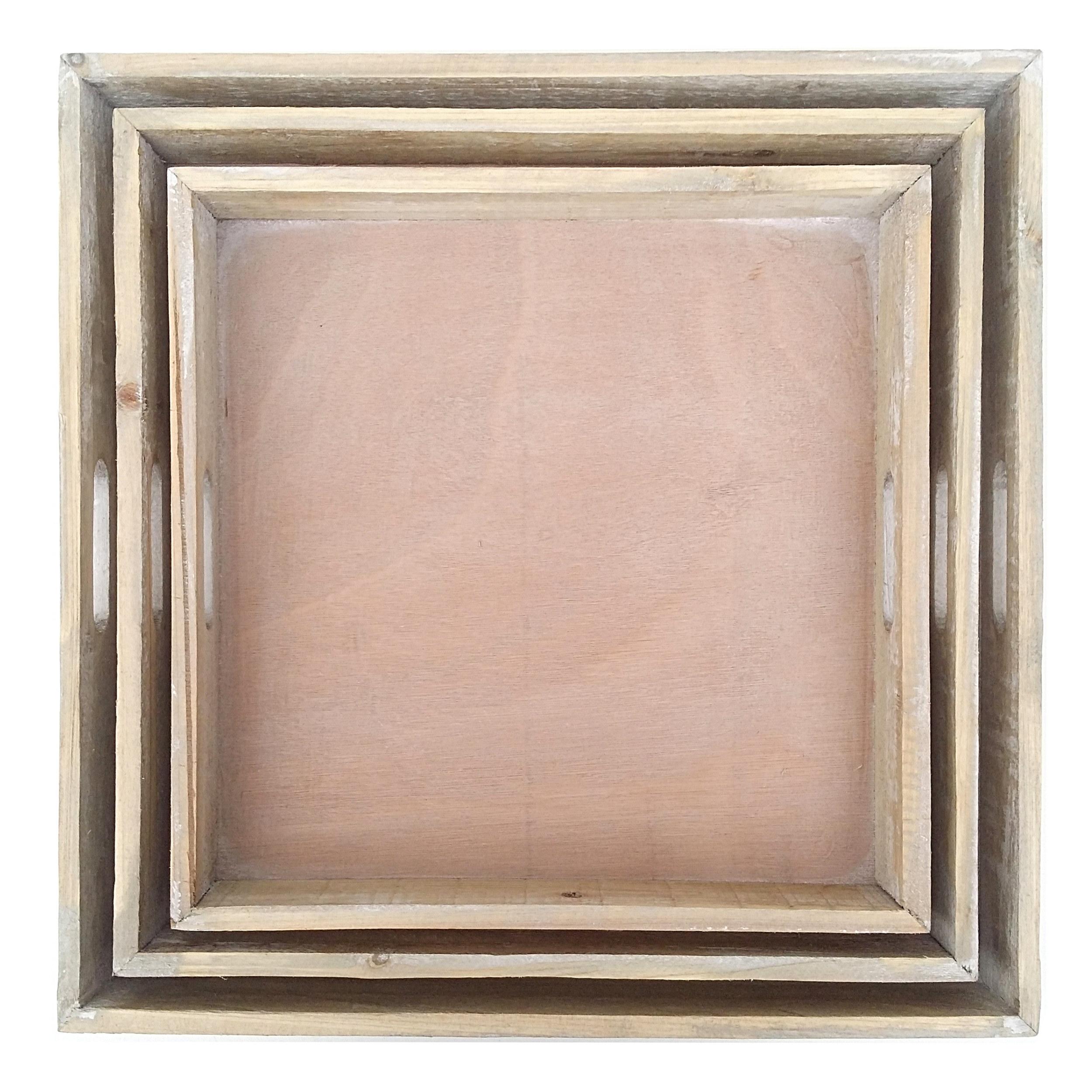 3er tablett set holz gek lkt gross quadratisch kerzentablett dekotablett neu ebay. Black Bedroom Furniture Sets. Home Design Ideas