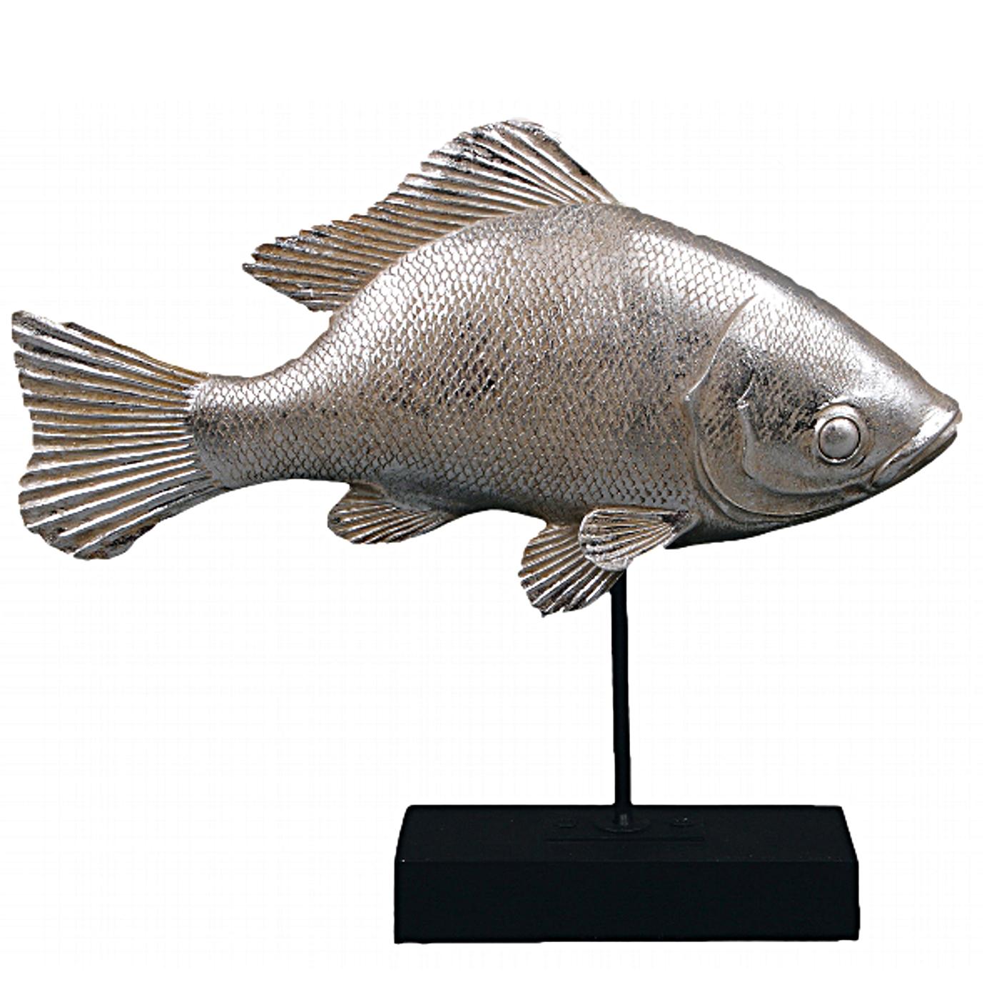 Fisch Skulptur Holz und Metall auf Sockel maritim Deko sehr edel